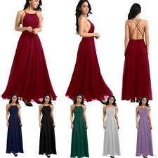 Women Ladies Formal Backless Prom Evening Bridesmaid Wedding Cocktail Maxi Dress