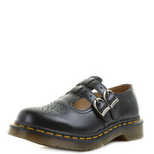 Ladies Dr Martens Mary Jane Black Smooth Twin Buckle Leather Shoes Sz Size