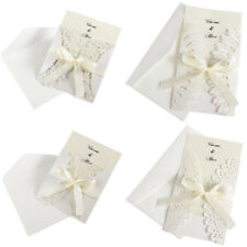 10x DIY Bow Laser Cut Vintage Lace Wedding Invitation Template Invite Card Cover