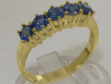 18ct 750 Yellow Gold Natural Sapphire Womens Eternity Ring - Sizes J to Z
