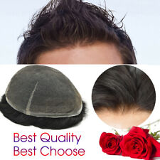 French Lace Mens Toupee Full Lace Mens Hairpiece Breathable System Bleached Knot