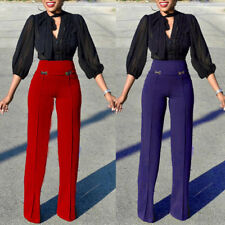 Women Palazzo High Waisted Flared Wide Leg Work Lady Button Long Trousers Pants