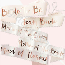 Pink & Rose Gold Team Bride To Be Sash Hen Party Accessories Bridesmaid Sashes
