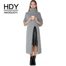 Long Sleeve Sweater Dress Autumn Wram Side Slit Long Sweaters Pullovers Ladies