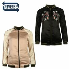 Firetrap Blackseal Embroidered Bomber Jacket Womens Black Coats Outerwear