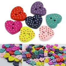 100Pcs bag Mixed Love Heart Wood Buttons Crafts for Sewing Scrapbooking DIY