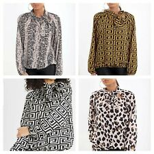 Women Ladies Fendi Print Satin Pussy Bow High Neck Party Blouse Top New