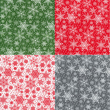 Polycotton Fabric Snowflake Christmas Xmas Snow Stars Craft Material