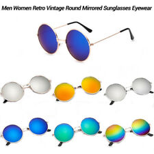 Vintage Retro Men Women Round Mirrored Eyewear Metal Frame Sunglasses Glasses