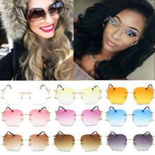Men Women Mirrored Sunglasses Rimless Glasses Oversized Clear Lens Sunglasses