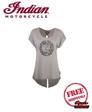 GENUINE INDIAN MOTORCYCLE BRAND T-SHIRT TEE WOMENS LADIES OPEN BACK ICON GRAY