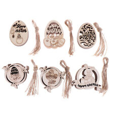 10pcs Easter Eggs Pendants Craft Wooden Chips Easter Hanging Ornaments Decor
