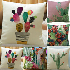 Tropical Flower Cactus Linen Pillow Case Sofa Car Throw Cushion Cover Home Decor