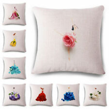 Flower girl Linen Cotton Fashion Throw Pillow Case Cushion Cover Home Sofa Decor
