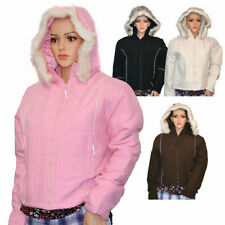 NEW LADIES QUILTED HOODED WOMENS PADDED ZIP POCKETS JACKET COAT WINTER UK SIZE