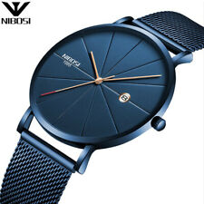 Men Blue Stainless Steel Ultra Thin Watches Men Classic Quartz Date Men's Wrist