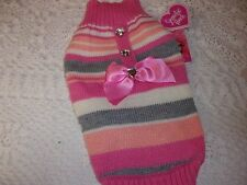 PINK Multi-Stripe BOW Sweater Dog S M L New pet petco Smoochie Pooch large small
