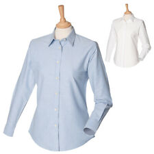 Womens Henbury Classic Button Down Long Sleeve Cotton Oxford Polo Shirts XS-4XL