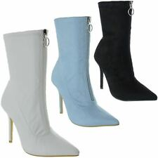 WOMENS LADIES HIGH STILETTO HEELED ZIP UP POINTED TOE SOCK BOOTS SHOES SIZE