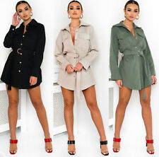 Womens Ladies Front Button Up Belted Long Sleeve Utility Shirt Dress UK 8-12