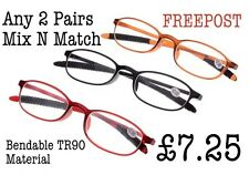 2 pairs Mix N Match in 3 Colours Bendable TR90 Material Reading Glasses RG44