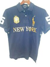 Polo Ralph Lauren Custom Slim Fit NEW YORK Shirt Big Pony/Crest in Navy & Gold