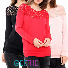 Womens Batwing Top Ladies Lace Long Sleeve Loose T Shirt Blouse Top Tunic