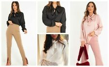 Women Ladies Plain Satin Pussy Bow Tie Knot Neck Party Fashion Blouse Office Top