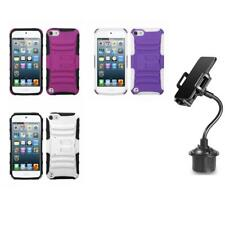 For Apple iPod Touch 5th 6th Gen IMPACT Hard TUFF Case Cover + Cup Mount