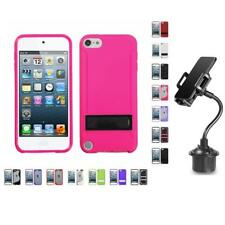 For Apple iPod Touch 5th 6th Gen TPU Hard Case Skin Phone Cover + Cup Mount