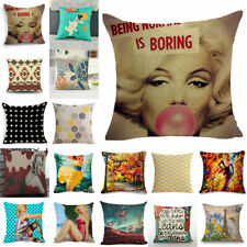 "18"" Vintage Square Cotton Linen Pillow Case Sofa Throw Cushion Cover Home Decor"