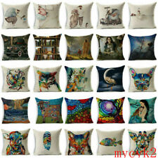Oil Painting Art Cotton Linen Throw Pillow Case Sofa Cushion Cover Home Decor
