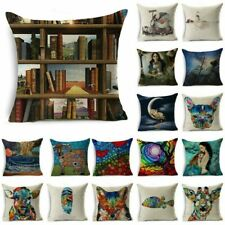 "18""Oil Painting Art Cotton Linen Throw Pillow Case Sofa Cushion Cover Home Decor"