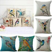 Decor Pillow Cotton Printed Linen Home Bird Cover Throw Colorful Case Cushion