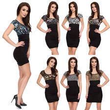 Womens Bodycon Animal Print Two- Colour Dress Empire Waist Stretchy Tunic 5016