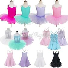 Girls Kids Ballet Leotards Dance Dress Tutu Skirt Tutu Dancewear Sequins Costume