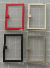 Lego 1 Red 1x3x4 vintage door frame with white door and trans clear lens
