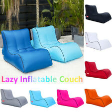 Inflatable Lazy Air Lounger Chair Sleeping Camping Bed Beach Sofa Bag Hiking