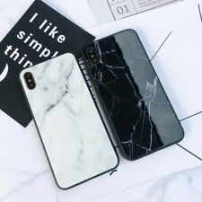 For iPhone XS Max XR X 8 7 6s Plus 6 Marble Crack Tempered Glass Back Case Cover