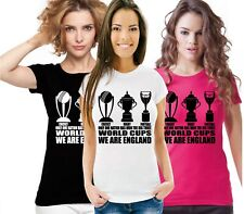 Ladies T Shirt England Fan The Only 3 World Cup Winners Football Rugby Cricket