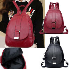 Womens Students Leather Multi-purpose Backpack Bag Dual-use Chest Soft Handbag