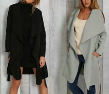 Womens Solid Kimono Cardigan Open Front Long Sleeve Long Maxi Jacket Trench Coat