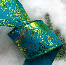 GREEN /& PURPLES 1m 65mm LUXURY SPARKLY,GLITTER WIRED RIBBON,CHRISTMAS,PEACOCK