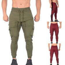 Mens Elastic Waist Sports Gym Stretch Trousers Slim Fit Outwork Joggers Pants