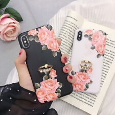 For iPhone XS Max XR X 8 7 6s Plus 6 Glossy Flower Pattern Stand Soft Case Cover