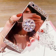 Bling Diamond Crystal Ring Holder Mirror Case+ Chain for XiaomiF1/Mi9/Mate20Lite
