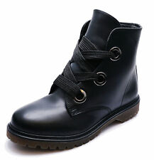 LADIES BLACK ANKLE CASUAL FLAT LACE-UP DM MILITARY ARMY DOC BOOTS SHOE SIZES 3-8