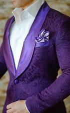 Men's Purple  British Style Jacquard Paisley Blazer Tuxedos Groom Wedding Suits