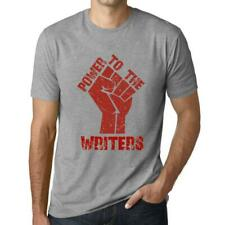 Homme Graphique Imprime T-Shirt : Power to the WRITERS (Gris Chine)
