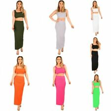 Womens Ladies 2 Piece Co-ord Set Sleeveless Ribbed Crop Top Bodycon Maxi Skirt